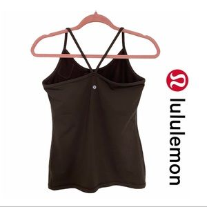 Lululemon Brown Power Y Tank Top w. Mesh Bra